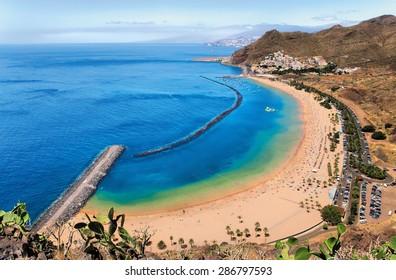 Panoramic view of famous beach Playa de las Teresitas,Tenerife, Spain