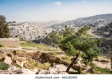 Panoramic view from the famous Bible symbol - Mount of Olives on Old Jerusalem city, capital of Israel. Jerusalem city, Israel. Israel landmark. Travel Israel. Travel Jerusalem. Jerusalem, Israel.