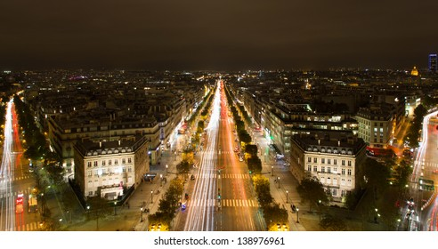 Panoramic view of the famous Champs Elysees boulevard in Paris.