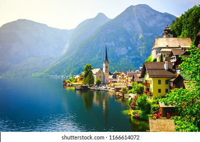 Panoramic view of famous Hallstatt village in the Austrian Alps.