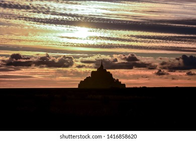 Panoramic view of famous historic Le Mont Saint-Michel tidal island Normandy northern France