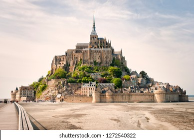 Panoramic view of famous Le Mont Saint Michelewith blue sky and clouds, Normandy, northern France