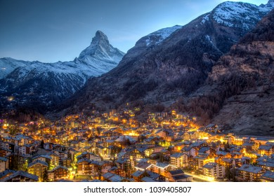 Panoramic view of the famous Matterhorn and Zermatt in the Swiss Alps in the evening