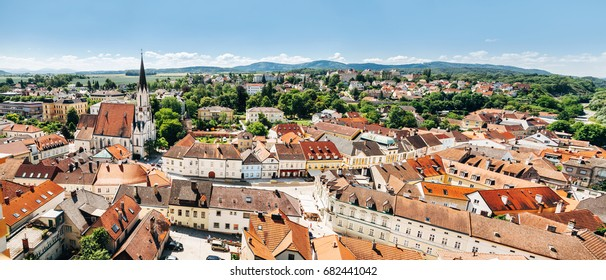 Panoramic view of famous Melk town located in lower Austria