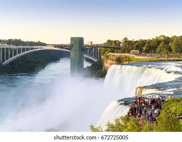 Panoramic view of the famous Niagara Falls in New York, USA on a sunny summer day.