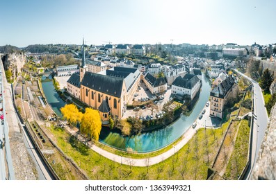 Panoramic view of the famous old town on a beautiful sunny day with blue sky in springtime, Luxembourg