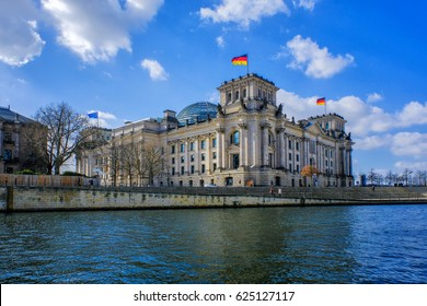 Panoramic view of famous Reichstag building (german government) and river Spree in Berlin, Germany