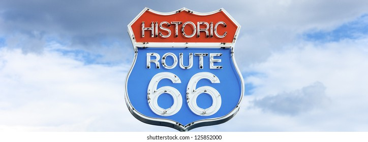 Panoramic view of famous sign on Route 66, USA