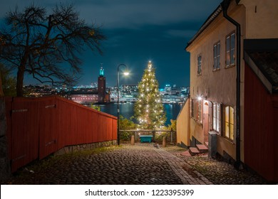 Panoramic view of famous Stockholm city center with historic town hall and decorated Christmas tree in the old town district during blue hour at dusk, Monteliusvagen, central Stockholm, Sweden