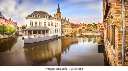 Panoramic view of famous water canal in Bruges, Belgium