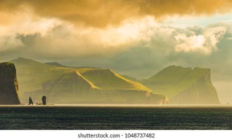 Panoramic view of Faroe islands seashore, summer time