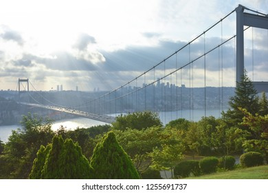 Panoramic view of the Fatih Sultan Mehmet Bridge. Sunset time.Photo was taken from Otagtepe, Beykoz in Istanbul, Turkey.