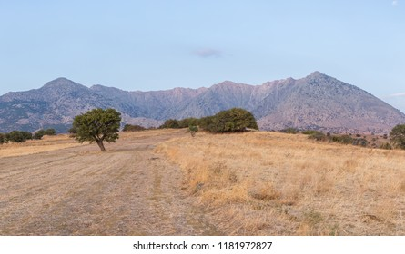 Panoramic view of Fengari Mountain before sunset, also known as Saos in Samothrace island, Greece