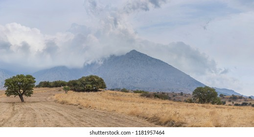 Panoramic view of Fengari Mountain, also known as Saos in Samothrace island, Greece