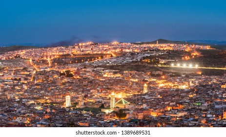 Panoramic view of Fes, Morocco after sunset