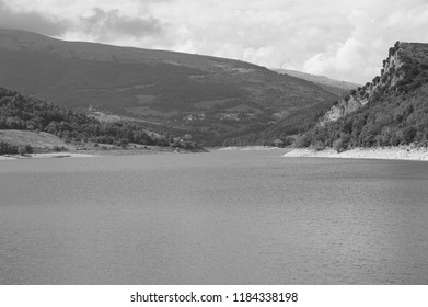 Panoramic view of the Fiastra Lake  (Marche, Italy, Europe)