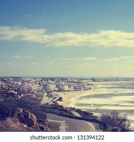 Panoramic view to Figuera da Foz town near the ocean in Portugal, illustration of summer holidays
