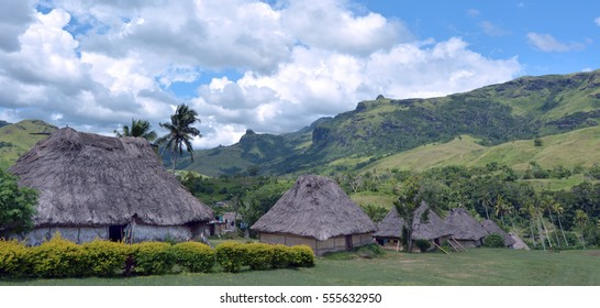Panoramic view of Fijian bures in Navala village in the Ba Highlands of northern-central Viti Levu, Fiji. It is one of the few settlements in Fiji which remains fully traditional architecturally.