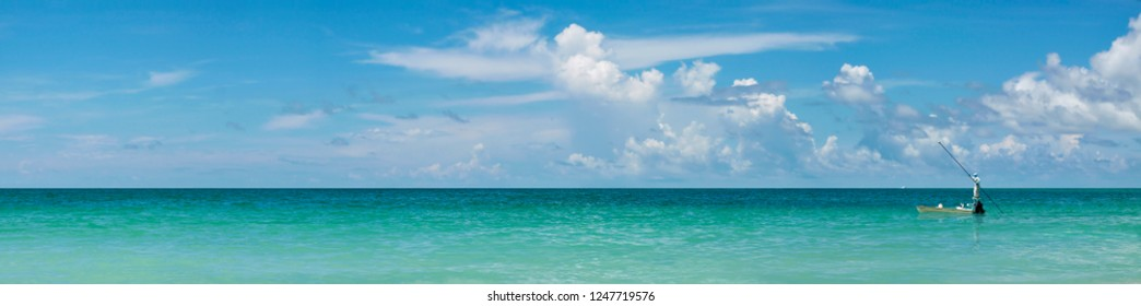 Panoramic view of fishing boat in Gulf of Mexico,Anna Maria Island,Florida