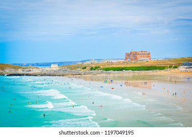 Panoramic view of Fistral beach in Cornwall, England
