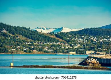 Panoramic view at fjord and Mo i Rana city
