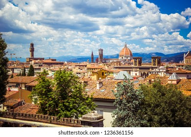 Panoramic view Florence Firenze (Duomo, towers, Cathedral, Cupola del Brunelleschi, tiled roofs of houses) from Piazzale Michelangelo, top view, Florence, Tuscany, Italy