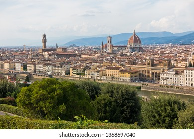 Panoramic view of Florence with Palazzo Vecchio, Santa Maria del Fiore cathedral and other landmarks, Tuscany, Italy