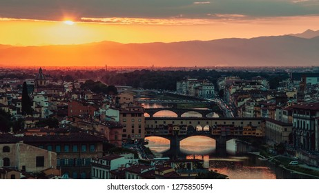 Panoramic view of Florence at sunset, Tuscany, Italy