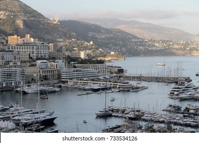 Panoramic view of Fontvieille - new district of Monaco. Boats.