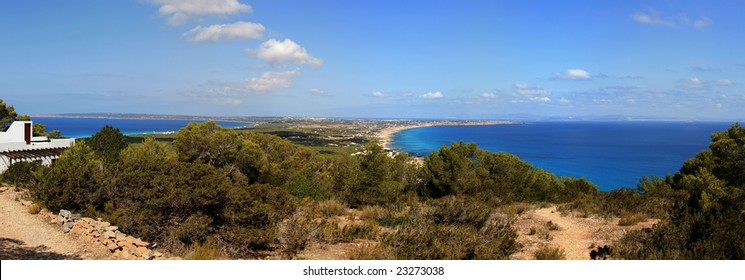 Panoramic view of Formentera Island in Baleares (Spain). Picture stitched from multiple photos.
