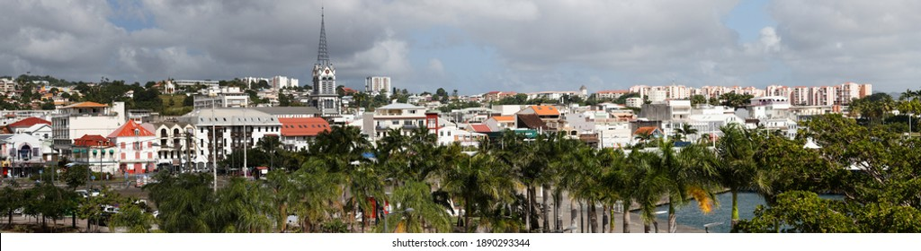 The panoramic view of Fort-de-France view with Saint Louis cathedral in Martinique island, French West Indies.