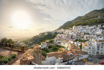 Panoramic view from fortress wall of Mijas village at sunset. Costa del Sol, Andalusia, Spain