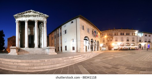 Panoramic view of the Forum in Pula