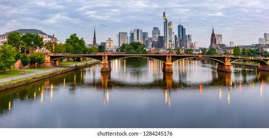 Panoramic view of Frankfurt city and its beautiful skyline.