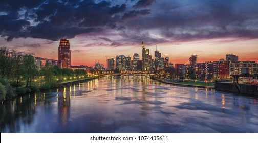Panoramic view of Frankfurt, Germany after sunset.