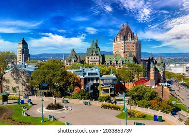 Panoramic view of Frontenac Castle (Fairmont Le Chateau Frontenac) in Old Quebec City, Canada