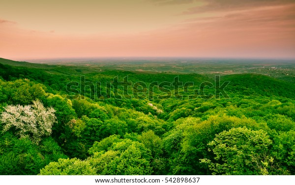 Panoramic view from Fruska Gora mountain in Vojvodina, Serbia