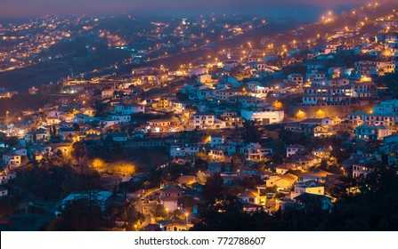 Panoramic view of Funchal by twilight,Madeira Island