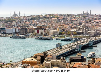 Panoramic view from Galata tower to Golden Horn in a summer day, Istanbul, Turkey