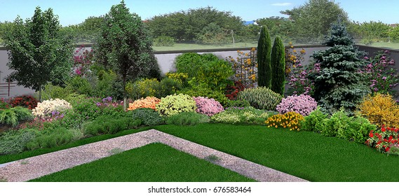 Panoramic view of the garden, green lawn and trees and shrubs of various shapes and sizes integrated into the natural environment, 3d render.