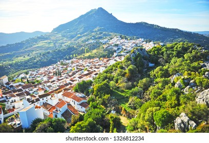 Panoramic view of Gaucin, a village in the province of Málaga, Andalusia, Spain