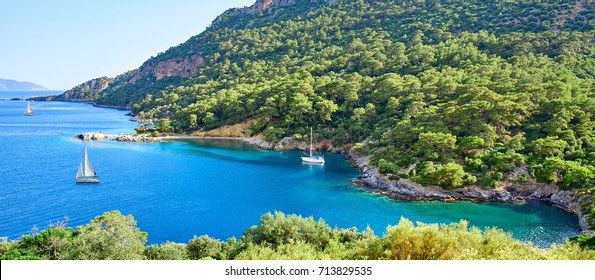Panoramic view from Gemile or Gemiler Bay in Fethiye, Turkey