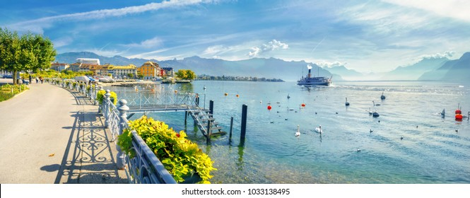 Panoramic view of Geneva Lake with beautiful embankment in Vevey town. Vaud canton, Switzerland