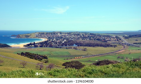 Panoramic view of Gerrigong from Mount Pleasant Lookout. Mt Pleasant Lookout at Kiama Heights provides views across beach and town. Taking in the seaside town of Gerringong and Werri Beach.