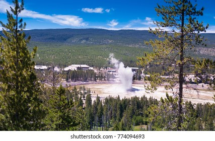 Panoramic view of the geyser Old Faithful in the Yellowstone national park