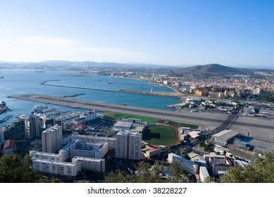 Panoramic view of Gibraltar. City, airport and port.