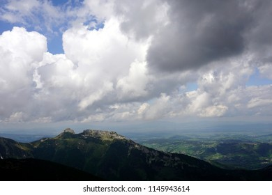 Panoramic view of Giewont Mountain and Zakopane town from Kasprowy Wierch. Tatra Mountains, Poland