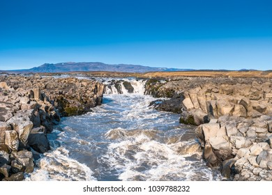 Panoramic view of glacial river near Askja caldera in highlands of Iceland, summer time