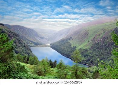 panoramic view to Glendalough Upper lake, Glenealo valley, Wicklow way, County Wicklow, Ireland