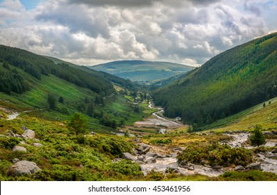 Panoramic view of Glendalough Valley, County Wicklow, Ireland.